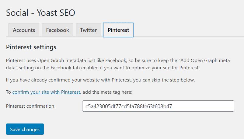Using Yoast SEO to claim your website on Pinterest.