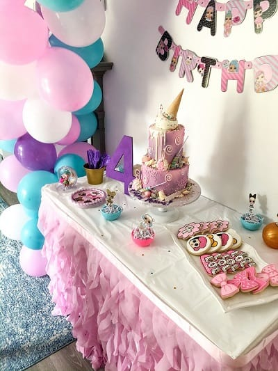 LOL Birthday Party Cake and Cookie Table