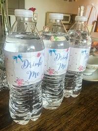 Drink Me water bottle labels.