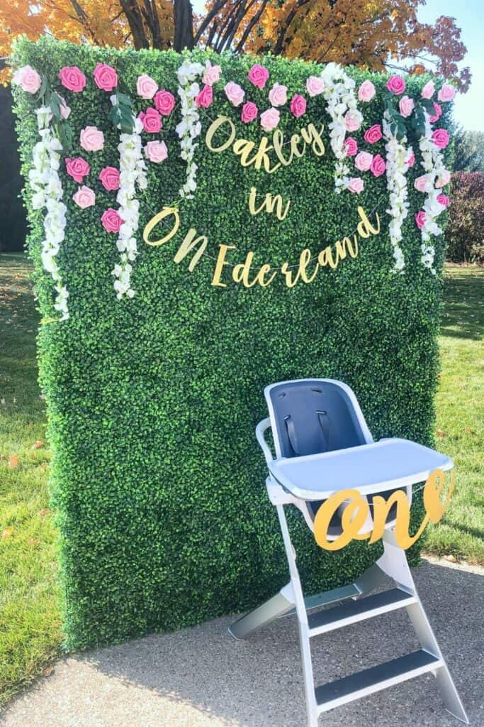 Birthday Party Boxwood Backdrop for high chair.
